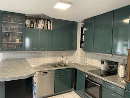 nobilia küche mit e geräte in petrolgrün