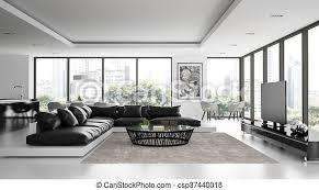 das interieur des modernen design loft mit schwarzem sofa 3d