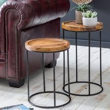 wohnling design satztisch wl5 661 sheesham metall beistelltisch 2er set klein couchtisch set 2 holz tische massivholz wohnzimmertisch