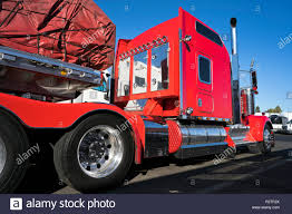 100 Truck Trailer Parts Bright Red Big Rig Classic American Semi Truck With Chrome Parts And