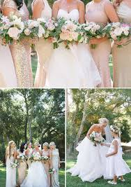 Wedding Bouquet Bridesmaids In Mismatched Dresses