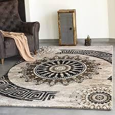 vimoda teppich klassisch wohnzimmer schlafzimmer gemustert kreis sehr dicht gewebt meliert ornamente muster in braun beige schwarz top qualität