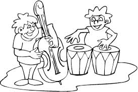 Coloring Pages Of Kids Playing With Band Instruments 300x201