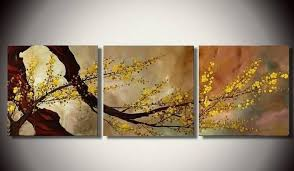 Abstract Art Plum Tree In Full Bloom Flower Painting Canvas Wall 3 Piece
