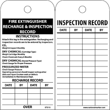 Fire Extinguisher Inspection Tag Template Free Nmc St515 Accident Prevention Recharge And