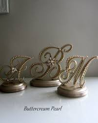 Wedding Cake Topper Triple Monogram Bride And Groom Vintage Champagne Pearl Gold For Rustic Renaissance Or 50th Anniversary