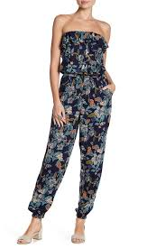 Angie Floral Strapless Ruffle Jumpsuit