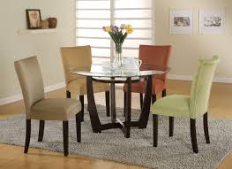 Furniture Inspiring Dining Room Decoration With Round Clear Glass Inside Table Pertaining