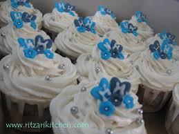 Royal Blue And White Wedding Cake Cupcakes