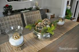 Glass Bowl Centerpiece Decorating Ideas Fresh Christmas Dining Table Mercury With Greens Of