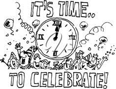 Celebration clipart black and white Pencil and in color