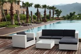 canapé de jardin design salon en résine tressée florie blanc collection design marque au