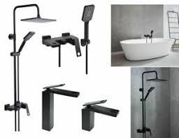 details zu noir bad armatur set schwarz waschtisch armatur wanne armatur duschsäule