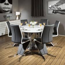 Ideal Round Dining Set White 150cm Dia Corian Table 6 X Modern Grey Chairs Quatropi