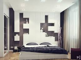 Bedroom Modern Black Featuring Impressive White Headboard Design With Display Shelves Combined Bed And Pillows Cool Lighting
