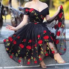 rose embroidery party dress black v neck off the shoulder evening
