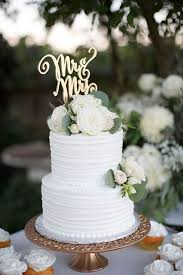 Two Tier White Rustic Wedding Cake Romantic Topper Gold