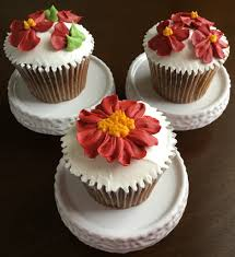 Cupcakes Decorated With Deep Red Buttercream Flowers Thomasville PA