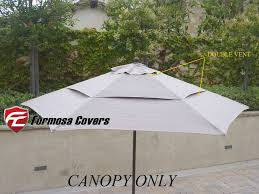 Double Vented Replacement Umbrella Canopy For 9ft 6 Ribs Market Patio Taupe