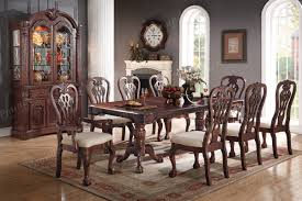 Traditional Cherry Wood Finish 9pc Formal Dining Set Table