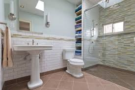 curbless neo angle shower for traditional bathroom and beige tile