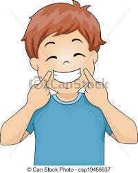 Boy Gesturing A Smile Vector