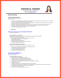 Resume Format Sample Ojt