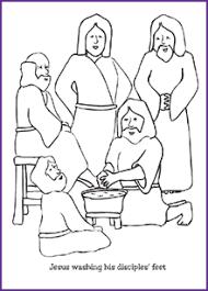 Jesus Washing Disciples Feet Coloring Page