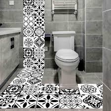 schwarz und weiß nordic stil retro fliesen aufkleber 20 100cm pvc bad küche wasserdichte wand aufkleber wohnkultur boden kunst wandbild