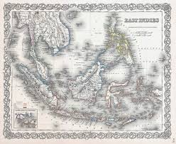 Large Old Map Of East Indies With Relief