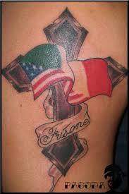 Clean Italian And American Flag Tattoos Photo