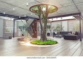 öko design des modernen interieurs echter lebender baum