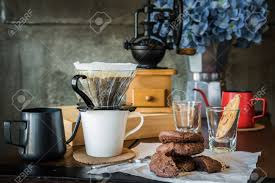 Breakfast With Coffee Dripping In The Morning Still Life Photograph Kit For Making Drip