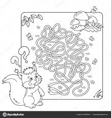Cartoon Vector Illustration Of Education Maze Or Labyrinth Game For Preschool Children Puzzle Tangled Road Coloring Page Outline Squirrel With