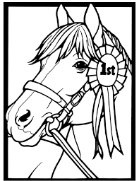 Horse Coloring Page Of Show Pony Proudly Wearing Blue Ribbon