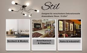 lightess vintage deckenleuchte e27 deckenle retro industrie deckenbeleuchtung für küche wohnzimmer schlafzimmer café bar usw schwarz 6 flamming