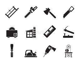 Download Silhouette Woodworking Industry And Tools Icons Stock Vector