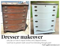 Dresser makeover how to fix chipped veneer deal with wood stain
