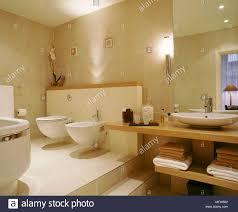 moderne neutrale badezimmer wc bidet waschbecken auf holz