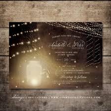 Enchanted Forest Wedding Invitation Set Rustic Garden Lights Fireflies Mason Jar Summer Invite Firefly