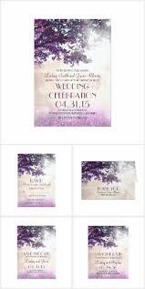 Tree Love Birds Rustic Purple Wedding Invitation Set Collection