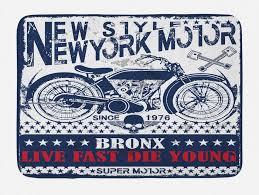 badematte plüsch badezimmer dekor matte mit rutschfester rückseite abakuhaus motorrad new york live fast bronx kaufen otto