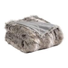 plaids fausse fourrure pour canapé plaid fausse fourrure sibérie gris fr130150 achat vente