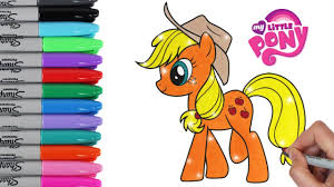 My Little Pony Coloring Book Pages Applejack MLP Video For Kids Art