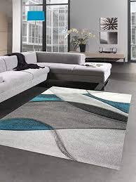 carpetia teppich modern teppich wohnzimmer wellen blau türkis grau größe 160x230 cm