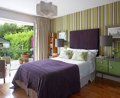 BedroomsPerfect Modern Bedroom With Small Bed And Green Striped Accent Wall Also Nightstand