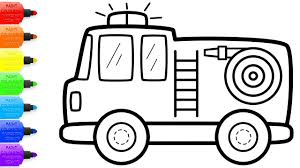 Fire Truck Coloring With Glitters How To Draw Set Firefighter, Fire ...