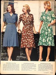 US Sears Catalog 1943 Vintage Fashion Day Dress 40s Green Brown Blue Floral Rayon Color Photo