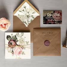 English Garden Luxury Folding Wedding Invitations Save The