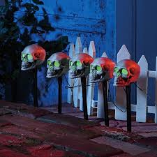 Halloween Pathway Lights Stakes by Skull Pathway Battery Operated Lawn Stakes Halloween Decoration